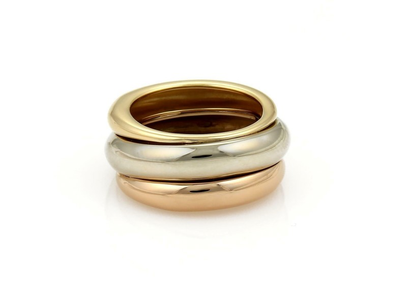 Cartier 18k Tri-Color Gold 12mm Wide Dome Band Ring Size EU 50-US 5