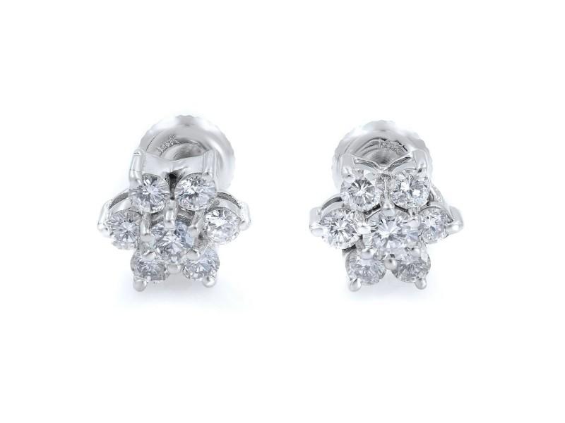 Rachel Koen Floral Style Diamond Stud Earrings 0.75cts