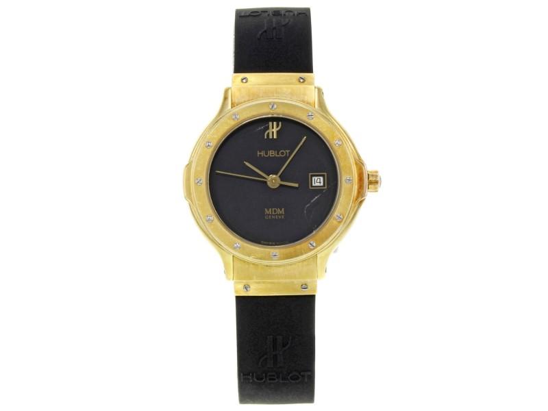 Hublot MDM Geneve 18K Yellow Gold Black Dial Rubber Quartz Ladies Watch 1391.3