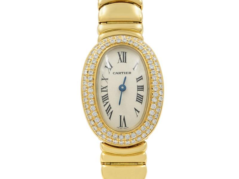 Cartier Mini Baignoire 18K Yellow Gold Silver Dial Diamond Ladies Watch WB5094WI
