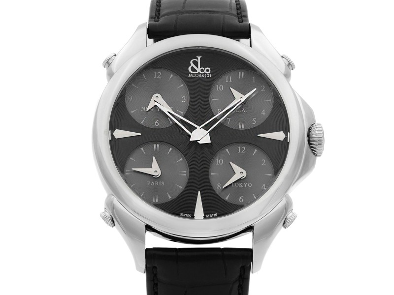 Jacob & Co. Palatial 5 Time Zone Steel Black Dial Mens Watch PZ500.10.NS.LA.A