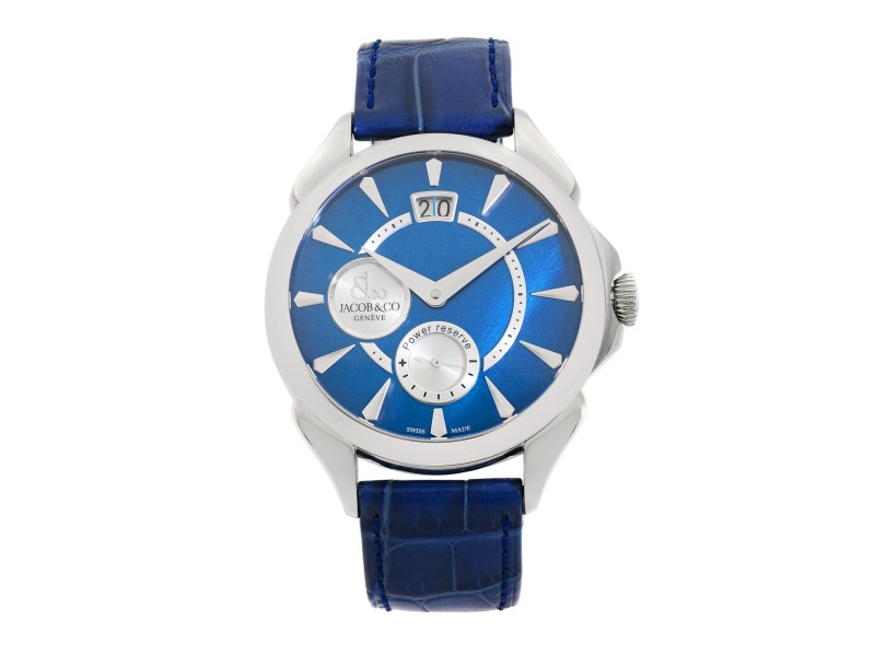 Jacob & Co. Palatial Big Date  Steel  Blue Dial Hand-Wind Watch PC400.10.NS.NF.A