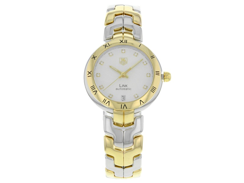 TAG Heuer Link Steel 18K Yellow Gold Guilloche Automatic Watch WAT2350.BB0957
