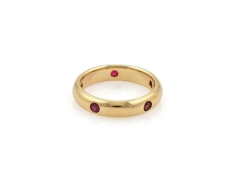Cartier Stella Ruby 18k Yellow Gold 4mm Wide Dome Band Ring Size 48-US 4.5