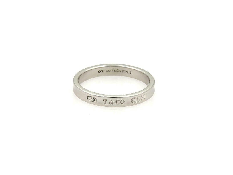 Tiffany & Co. 1837 Platinum 3mm Concave Wedding Band Ring Size 5