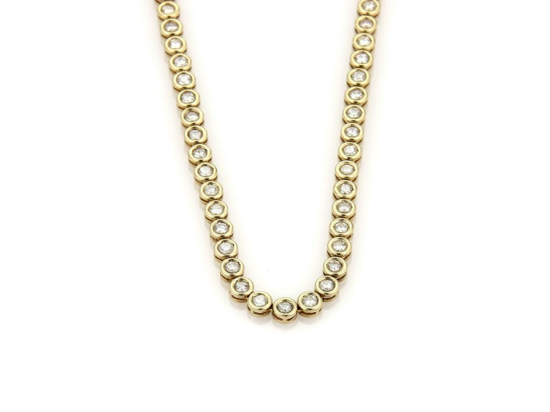 "New 5.3ct Diamond 14k Yellow Gold Circle Link Bezel Tennis Necklace 16.5"" long"