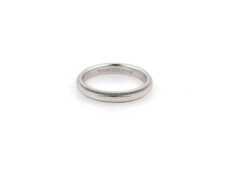 Tiffany & Co. Platinum 3mm Double Milgrain Dome Wedding Band Ring Size 6.5