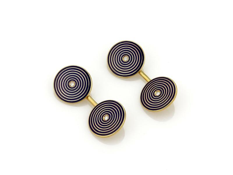 Vintage Tiffany & Co. Diamond Enamel 18k Yellow Gold Round Disc Flex Cufflinks