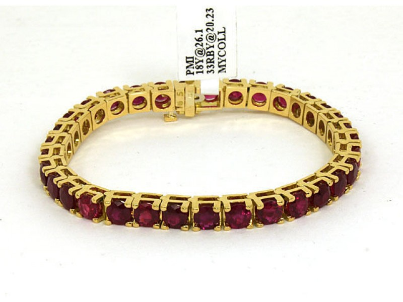 New 20.23ct Round Cut Rubies 18k Yellow Gold Tennis Bracelet
