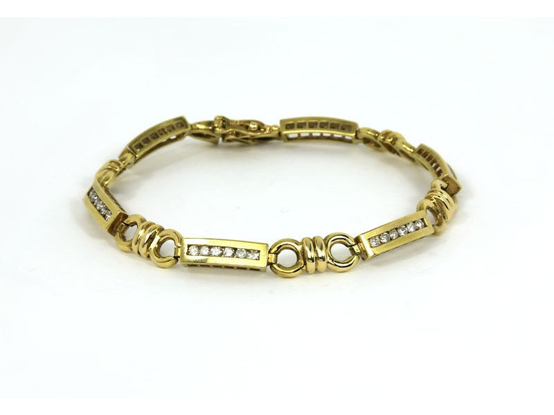 Vintage 1.35ct Diamond 14k Yellow Gold Bar & Circle Link Bracelet