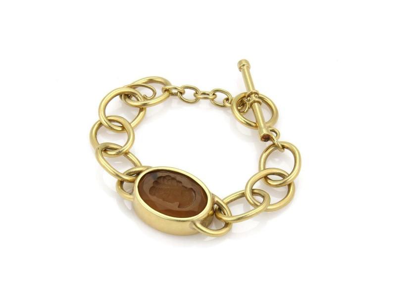 Elegant Citrine Intaglia 18k Yellow Gold Chain Bracelet Toggle Clasp