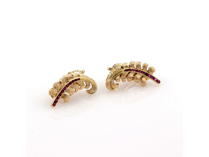 Vintage Tiffany & Co. 14K Yellow Gold Ruby Floral Clip On Earrings