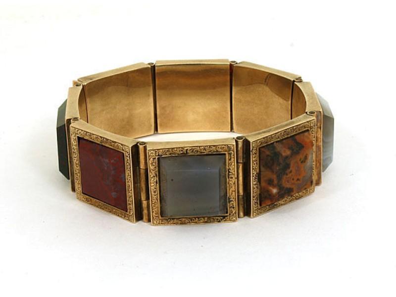 Victorian Unique 9k Gold & Agage Square Link Fancy Design Bracelet