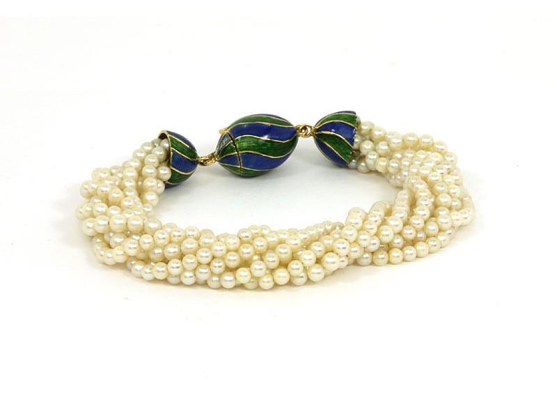 Vintage Multi-Strand Pearls & Enamel 18k Yellow Gold Bracelet