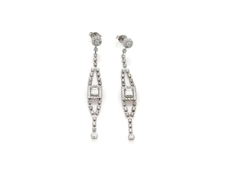 Gorgeous 2.88ctw Diamond 18k White Gold Fancy Long Drop Dangle Earrings