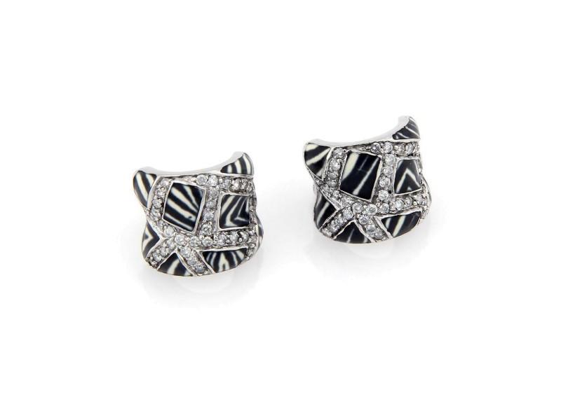 Estate 18K White Gold Fancy Diamond & Zebra Striped Enamel Huggie Earrings