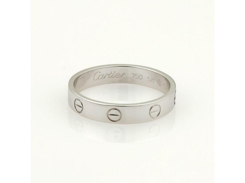 Cartier Mini Love 18k White Gold 4mm Wide Band Ring Size EU 58-US 8.5 Cert