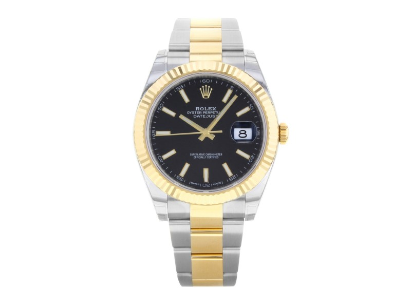 Rolex Datejust 41 Steel 18K Yellow Gold Black Dial Automatic Mens Watch 126333