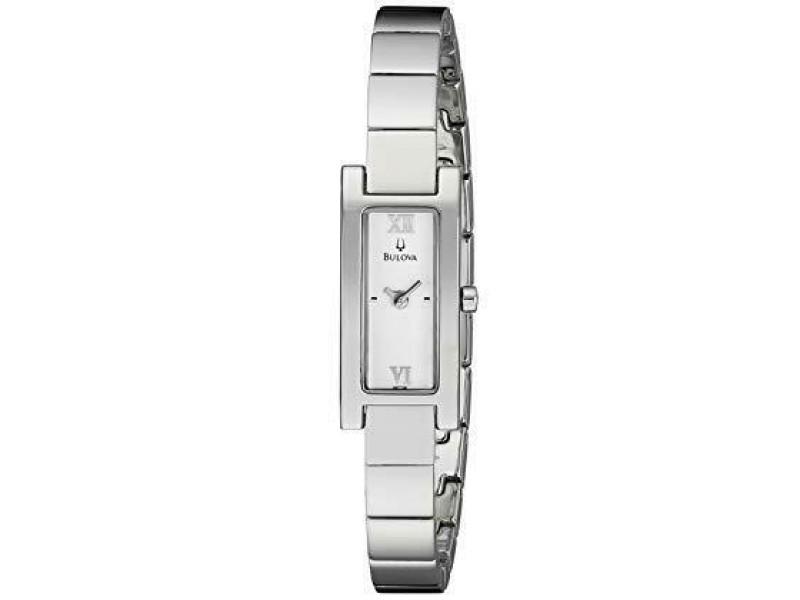 Bulova Steel Silver Roman Rectangle Dial Quartz Ladies Watch 96T08