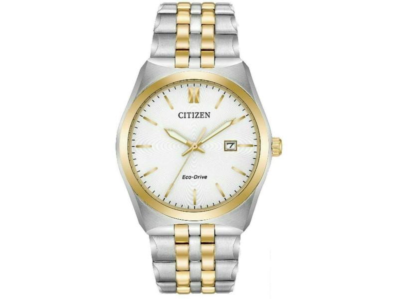 Citizen Eco-Drive Two-Tone Steel White Dial Quartz Mens Watch BM7334-58A