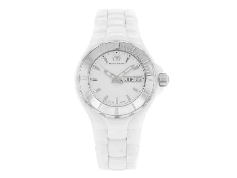 Technomarine Cruise White Ceramic Steel Day Date Quartz Ladies Watch 110022C