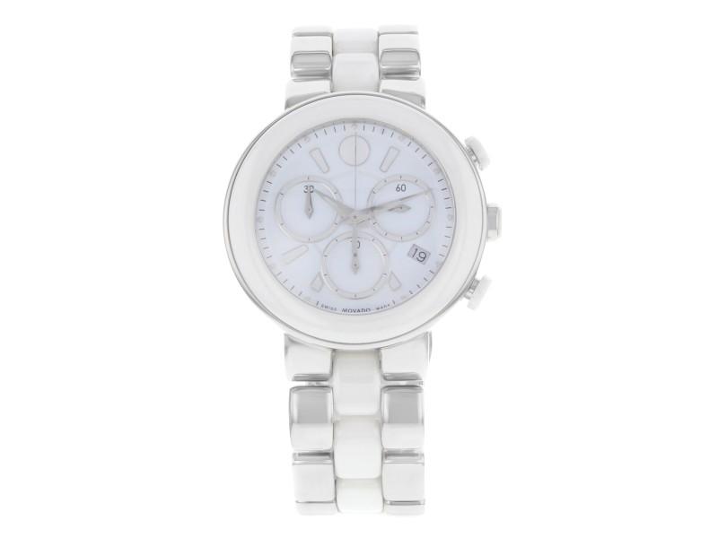 Movado Cerena White Ceramic Stainless Steel Quartz Ladies Watch 606758