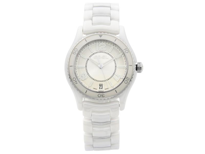 Ebel X-1 White Ceramic Steel Date Silver Dial Quartz Ladies Watch 1216129