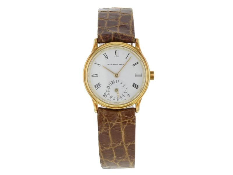 Audemars Piguet 25mm 18K Gold Leather  White Roman Dial Hand Wind Ladies Watch