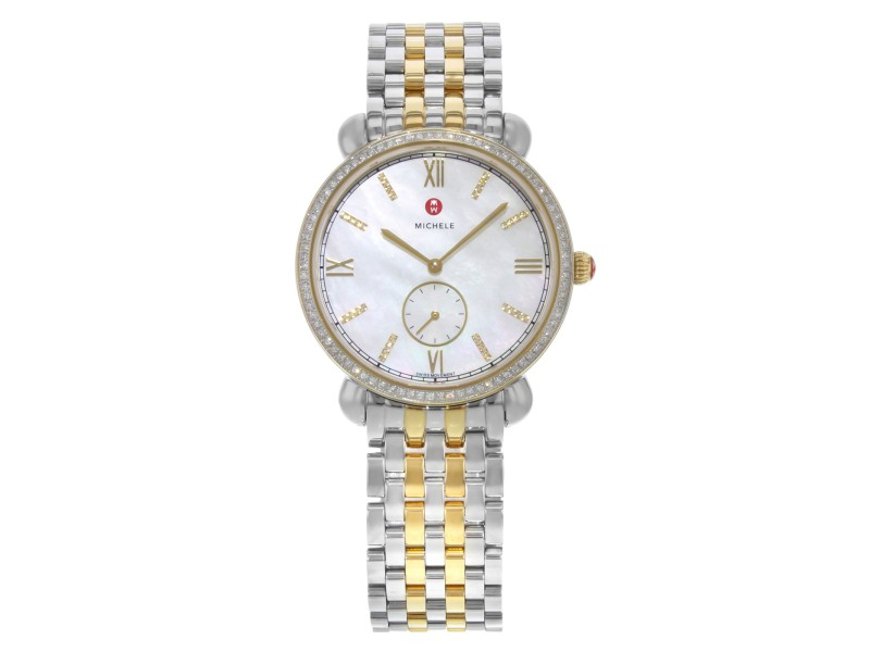 Michele Gracile Mother of Pearl Two Tone Steel Quartz Ladies Watch MWW26A000003