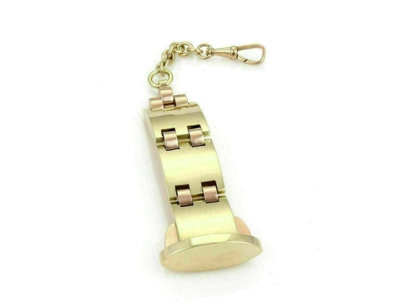 Retro Pocket Watch Fob Chain in 14k Yellow & Rose Gold