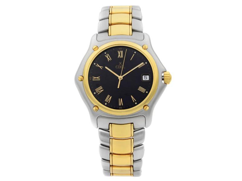 Ebel 1911 Steel 18K Yellow Gold Black Roman Dial Quartz Unisex Watch 187916