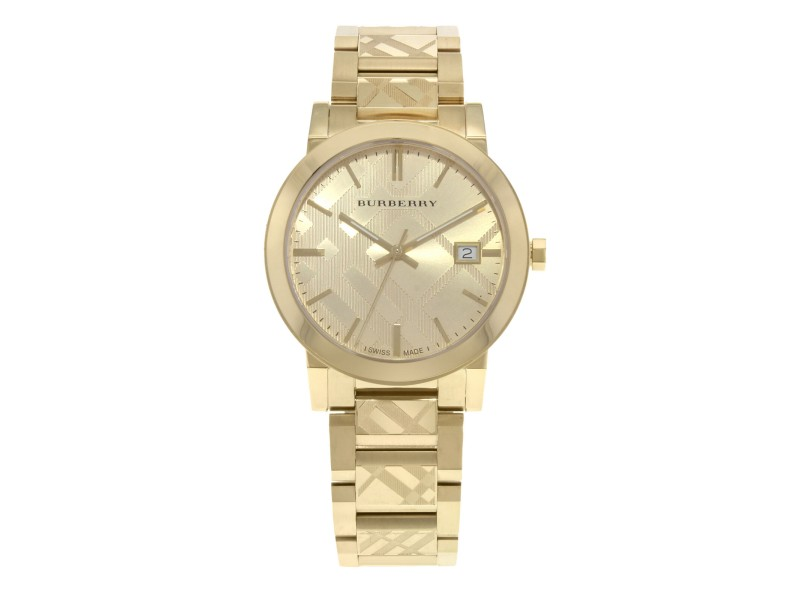 Burberry The City Gold Ion Plated Steel Gold Dial Quartz Unisex Watch BU9038