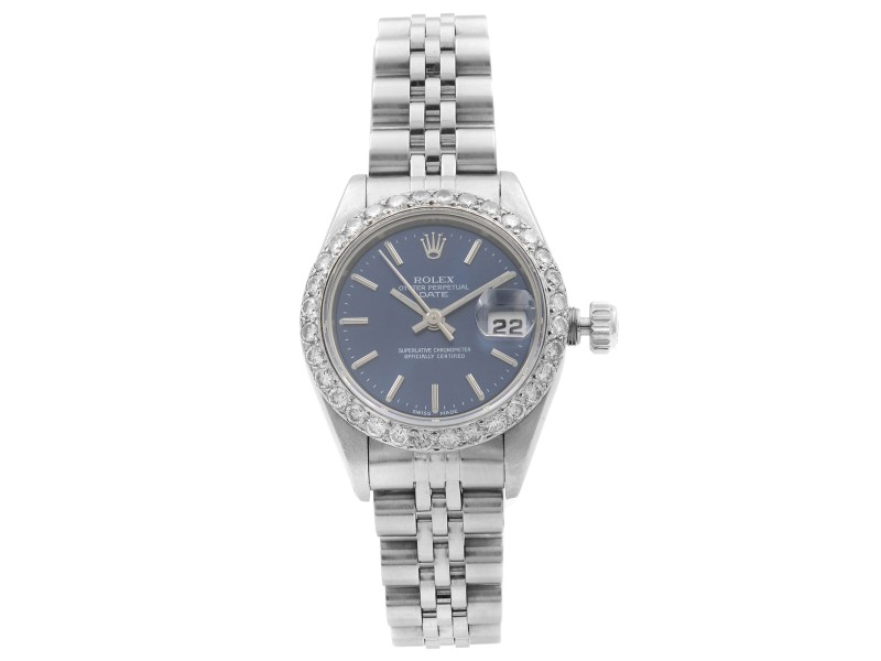Rolex Date Steel Custom Diamonds Blue Dial Automatic Ladies 1999 Watch 79160