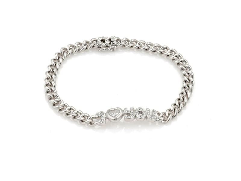 "Chopard Happy Diamond ""I Love You"" 18k White Gold Curb Link Chain Bracelet"