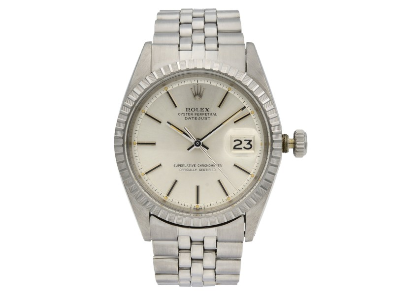 Rolex Datejust Steel Silver Dial Engine Turned Bezel Automatic Mens Watch 1603