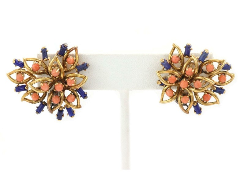 Vintage Lapis & Coral 18k Yellow Gold Floral Post Clip Huggie Earrings