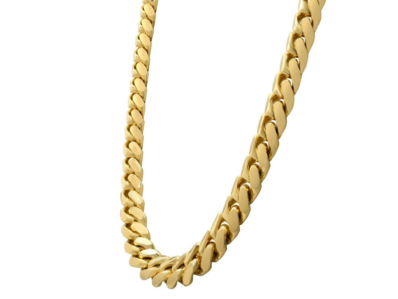 Solid 14K Yellow Gold Miami Cuban Link Chain Necklace 14mm