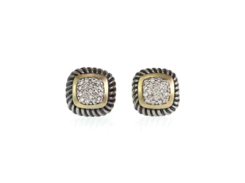 David Yurman Albion Diamonds 925 Silver 18k Gold Cable Stud Earrings