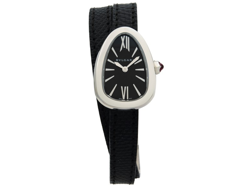 Bvlgari Serpenti Steel Double Wrap Leather Black Dial Quartz Ladies Watch 102782