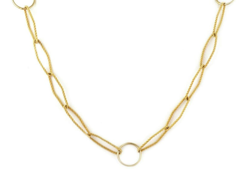Estate Textured Rhombus Shape 18k Yellow Gold Link Long Necklace