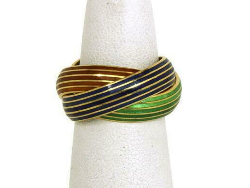 Vintage 18k Yellow Gold Green Red & Blue Enamel Rolling Bands Ring Size 5.25