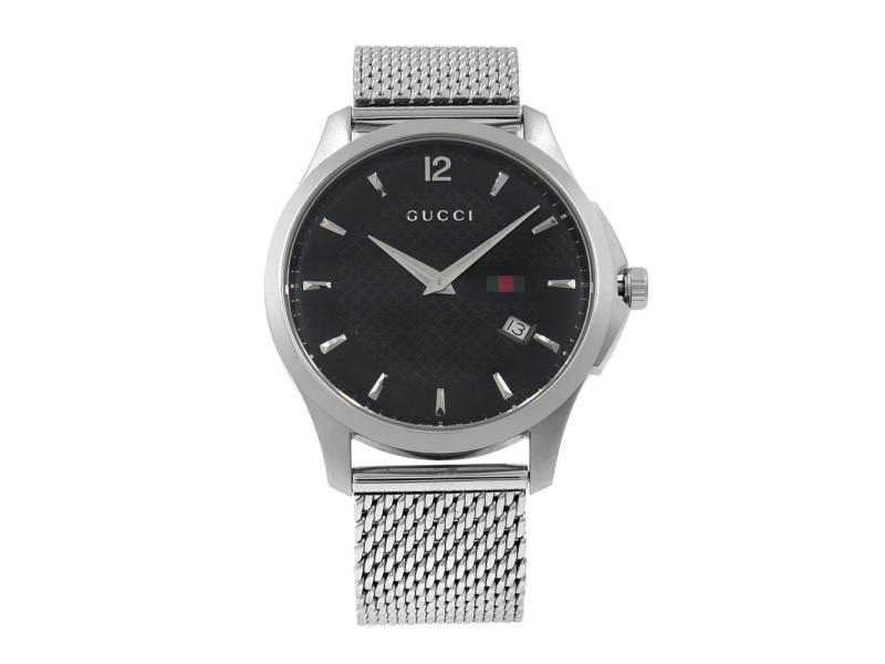 Gucci G-Timeless Stainless Steel Mesh Band Black Dial Quartz Mens Watch YA126308