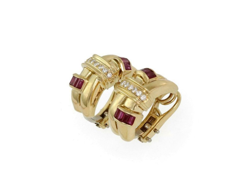 Lovely 2.05ct Diamond Ruby 18k Yellow Gold Double Row Curve Huggie Earrings