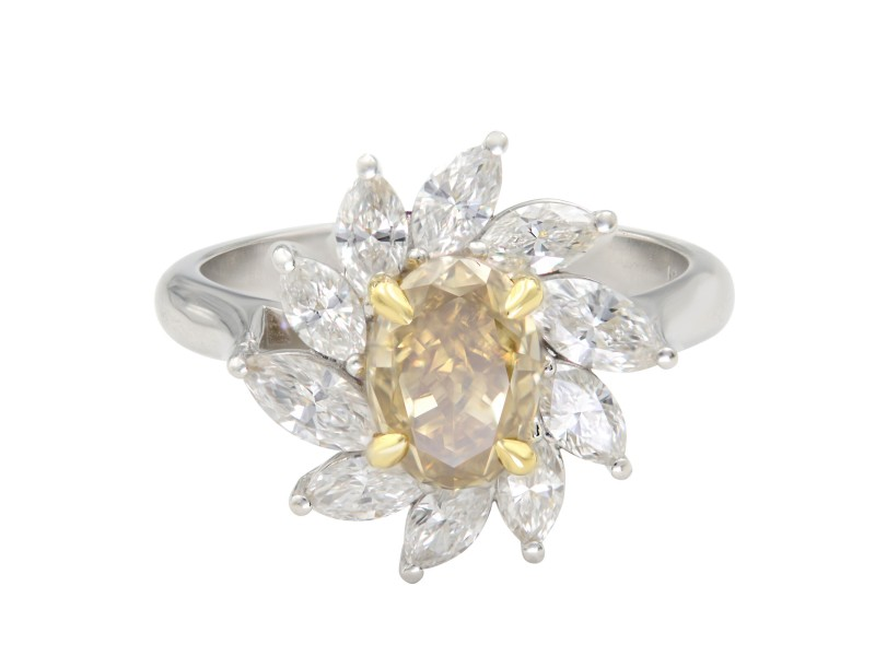 Platinum Brownish Yellow Oval & White Marquise Halo Diamond Cocktail Ring 1.39ct