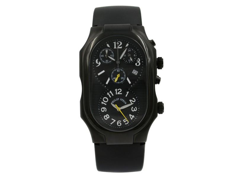 Philip Stein Signature Black PVD Steel Dual Dial Quartz Mens Watch 3B-NBY-RB