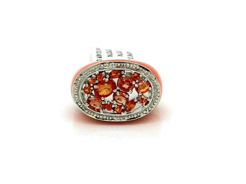 Enamel Orange Sapphire 14k White Gold Oval Top Ring