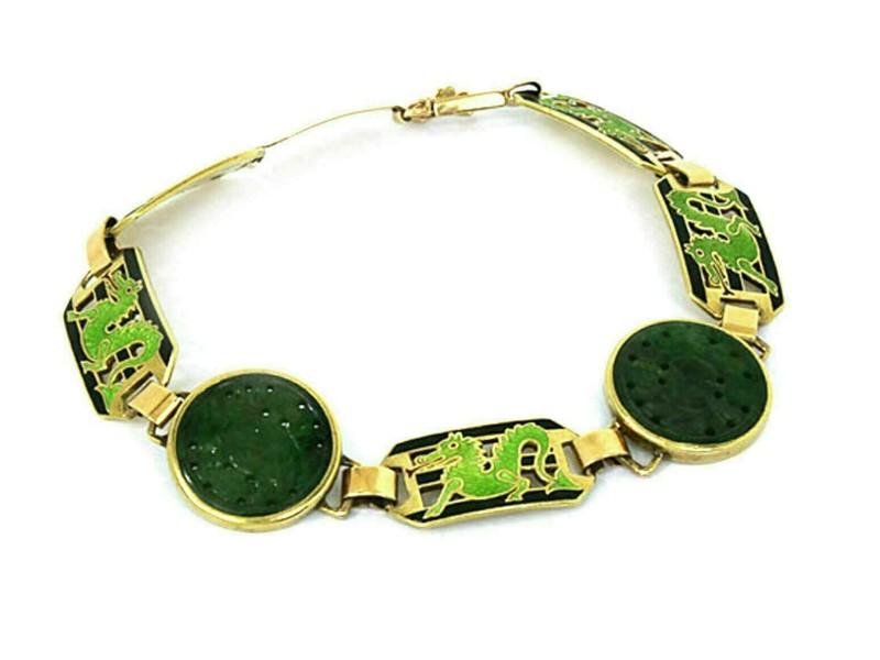 Carved Jade & Enamel  14k Yellow Gold Link Bracelet