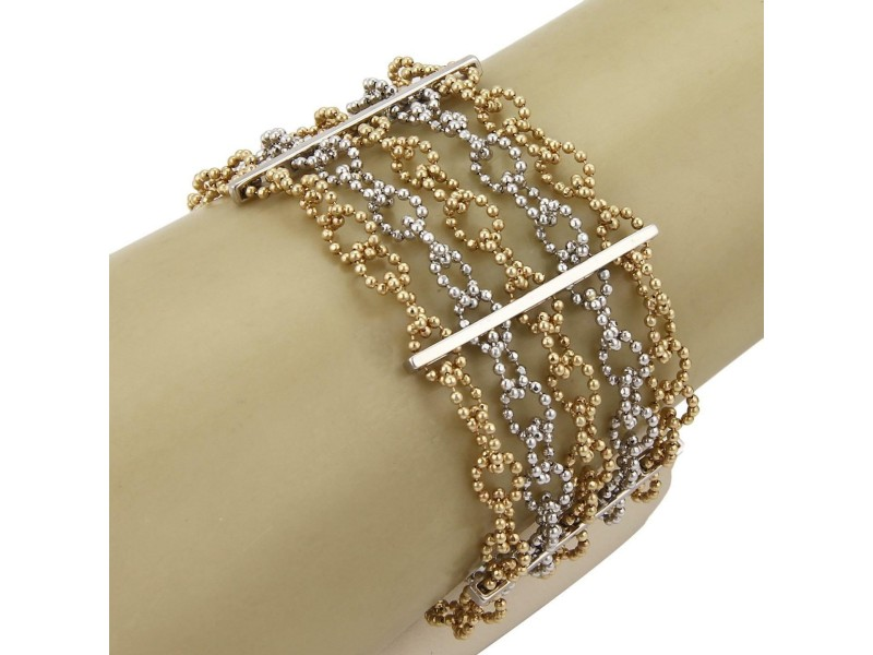 14k Two Tone Gold 4 Strand Interlaced Beaded Oval Link Wide Bracelet