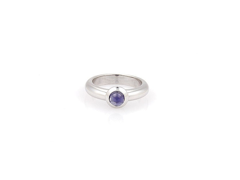 18K White Gold Tiffany & Co. France Bullet Shape Iolite Solitaire Ring