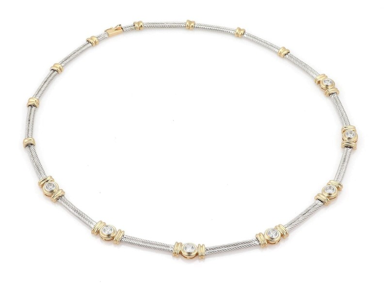 14k Two Tone Gold 1.20ct Diamond Double Cable Station Fancy Necklace